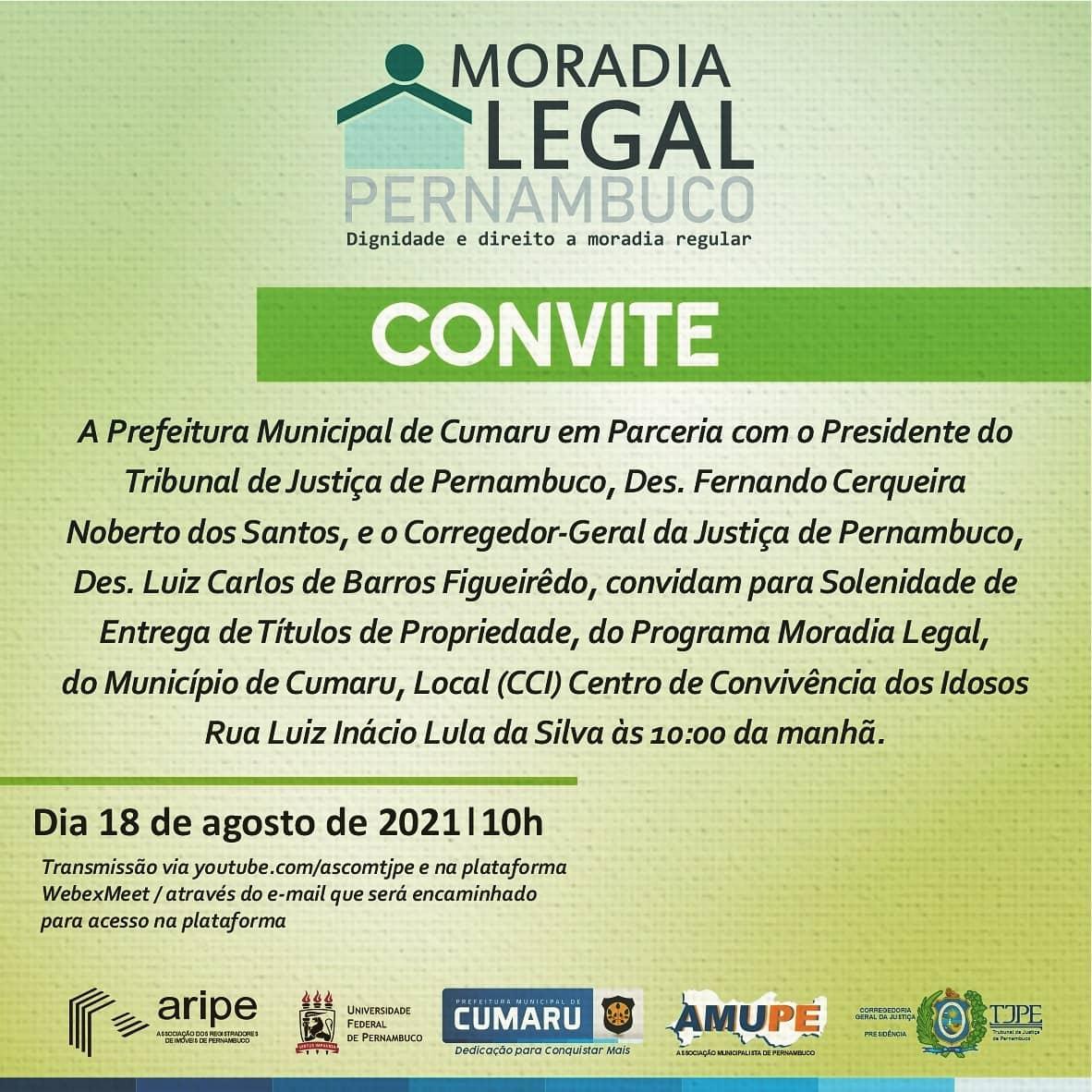 Solenidade de Entrega de Títulos de Propriedade, do Programa Moradia Legal