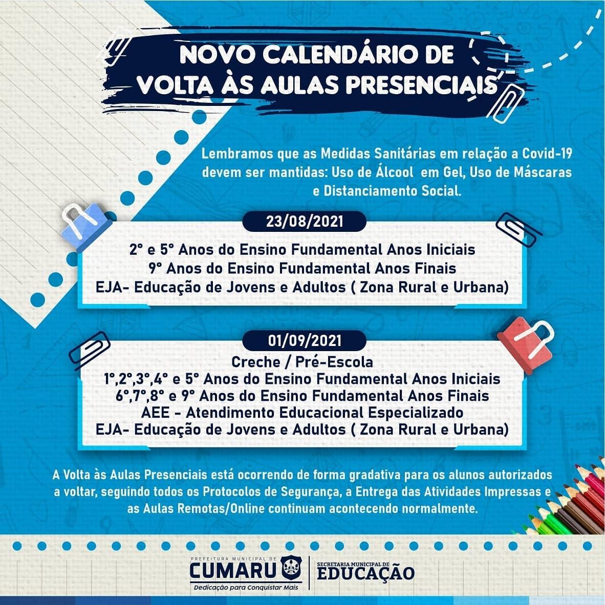 NOVO CALENDÁRIO DE VOLTA ÀS AULAS PRESENCIAIS