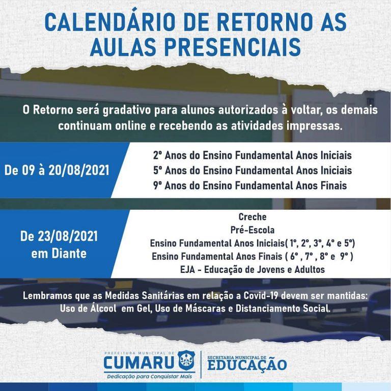 A Secretaria Municipal de Educação divulga o Calendário de Retorno às Aulas Presenciais